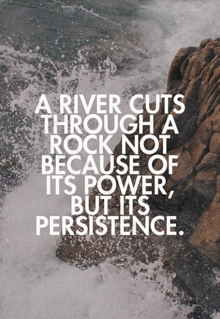 a river cuts through a rock not because of its power, but its persistence.